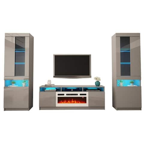 Reno WH05 Electric Fireplace Modern Wall Unit Entertainment Center