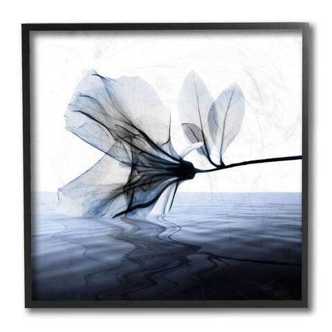 Stupell Industries Flower Petals Touching Water Blue White Photograph Framed Wall Art