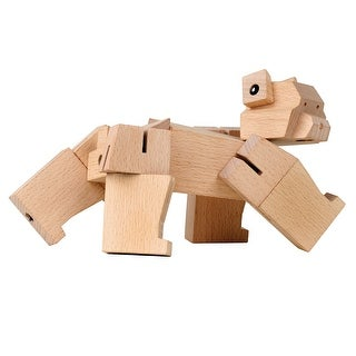 Kikkerland Square Beasts Bear Cub Toy Figurine - Wooden Block Animal Puzzle - 8 in.