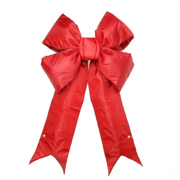 """12"""" x 17"""" Commercial Structural 4-Loop Red Indoor/Outdoor Christmas Bow Decoration"""