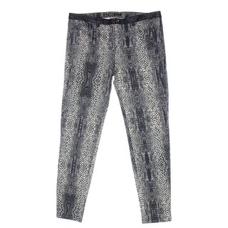 Zara Basic Womens Snake Print Faux Trim Skinny Jeans - 6