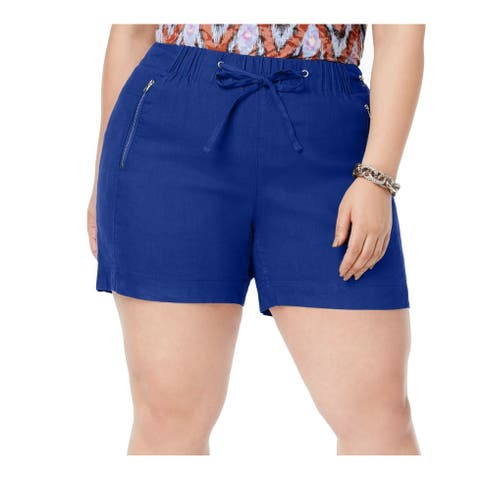 INC Womens Shorts Islands Blue Size 3X Plus Drawstring Zip-Detail