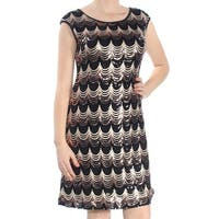 FRENCH CONNECTION Womens Black Sequined Printed Cap Sleeve Scoop Neck Knee Length Sheath Cocktail Dress  Size: 8