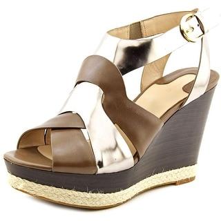 Joan & David Daisleen Women Open Toe Patent Leather Bronze Wedge Heel