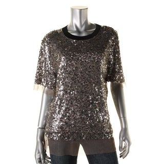 DKNY Womens Sequined Short Sleeves Pullover Top