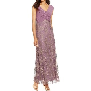 Patra Womens Evening Dress Metallic Lace