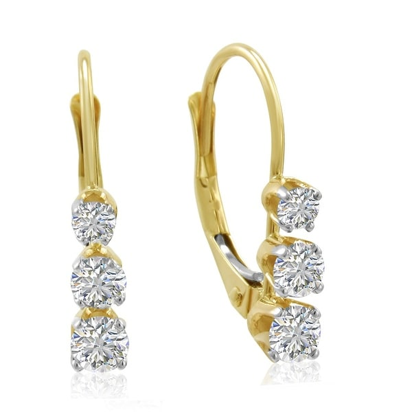 Amanda Rose AGS Certified 14K Yellow Gold Three-Stone Diamond Lever Back Earrings 1/2ct tw