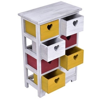 Costway Colorful Wood Bedside Table Nightstand Cabinet Chest 8 Storage drawers