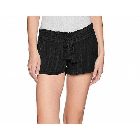 Roxy Womens Shorts Deep Black Size Large L Low-Rise Smocked-Waist
