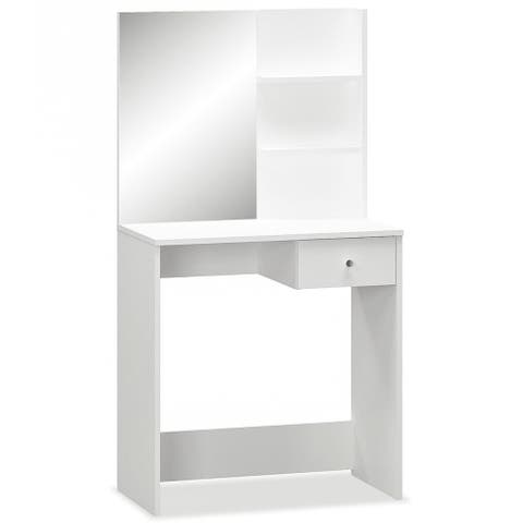 """vidaXL Dressing Table Chipboard 29.5""""x15.7""""x55.5"""" White/Oak"""