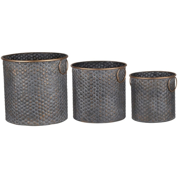 """Set of 3 Black and Brown Versatile Style Bold Textured Cylindrical Planter 14.5"""" - N/A"""
