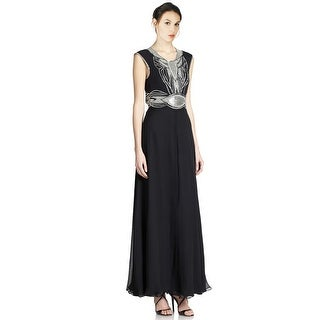 Parker Beaded Open Back Silk Evening Gown Dress