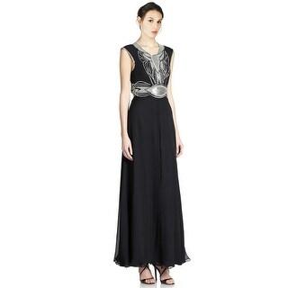 Parker Beaded Open Back Silk Evening Gown Dress Black