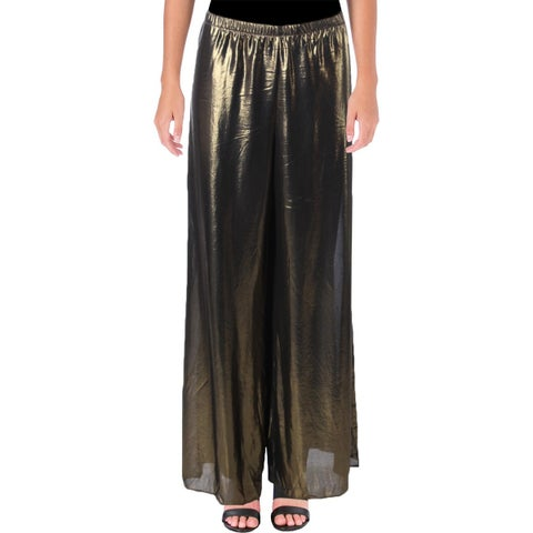 MSK Womens Wide Leg Pants Metallic Pull On