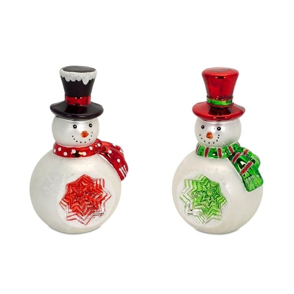 Set of 4 Red and Green Retro Reflector Glass Snowman Tabletop Decorations 9""