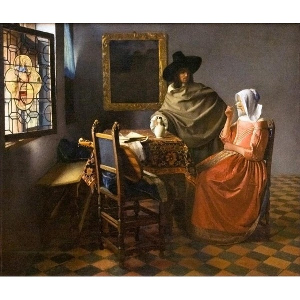 Easy Art Prints Johannes Vermeer's 'The glass of Wine' Premium Canvas Art