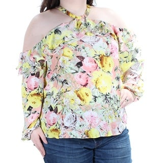 INC $69 Womens New 1656 Yellow Pink Floral Cold Shoulder Ruffled Top XXL B+B