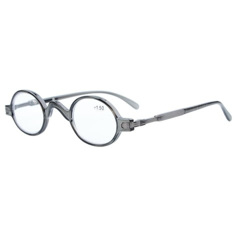 Eyekepper Readers Spring Temple Vintage Mini Small Oval Round Reading Glasses Grey +3.5
