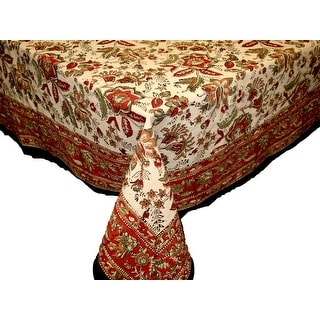 Jaipur Floral Print Earthen Cotton Tablecloth Round Square Rectangle Napkin Placemats