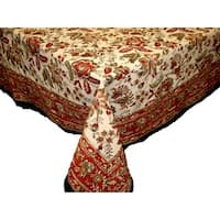 "Handmade Jaipur Floral Print 100% Cotton Tablecloth Earthen Round 72"" Square 60x60 Rectangle 60x90 Napkin 18x18 Placemats"