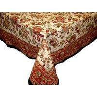 "Handmade Jaipur Floral Print 100% Cotton Tablecloth Earthen Round 72"" Square 60x60 Rectangle 60x90 Napkin 18x18 Placemats"