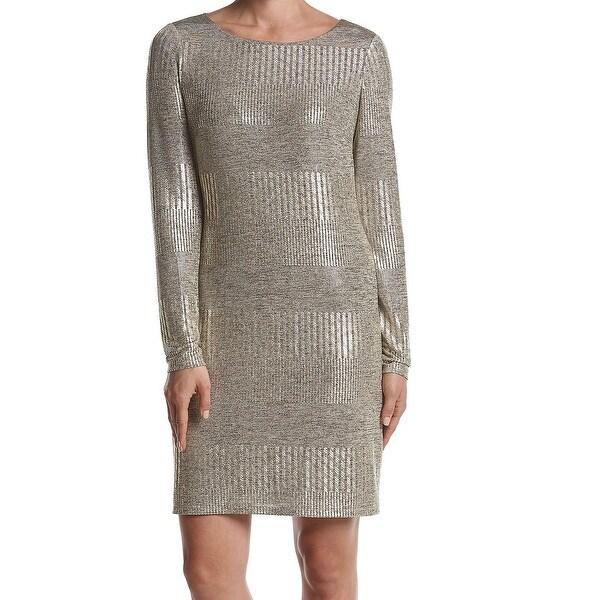 3ec38881157c Shop Jessica Howard Gold Womens Size 16 Metallic Scoop Neck Sheath ...