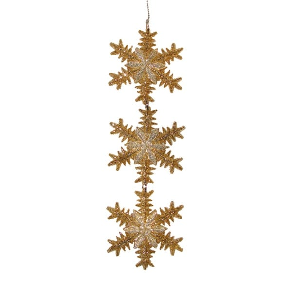 Gold & Silver Snowflake Trio Christmas Ornament #2712508