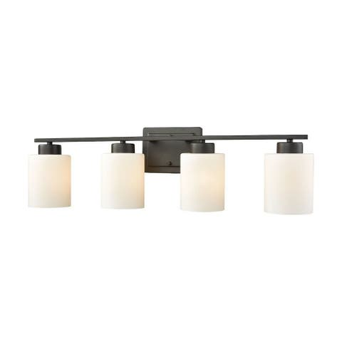 4 Down Light Vanity Light With Oil Rubbed Bronze Finish With White Glass - Bathroom Lighting -
