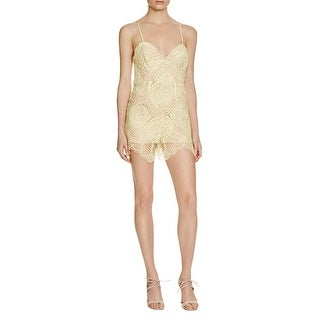 Bardot Womens Romper Lace Overlay Criss-Cross Back|https://ak1.ostkcdn.com/images/products/is/images/direct/e65cea737cdbb6a64e5f89efe3d7d0f4af814780/Bardot-Womens-Romper-Lace-Overlay-Criss-Cross-Back.jpg?_ostk_perf_=percv&impolicy=medium