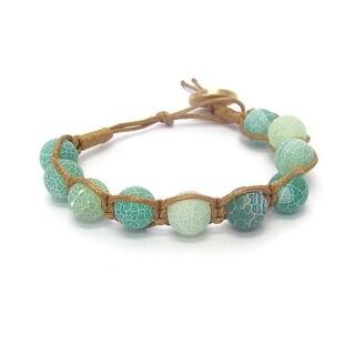 Genuine Stone Bead Cord Link Bracelet