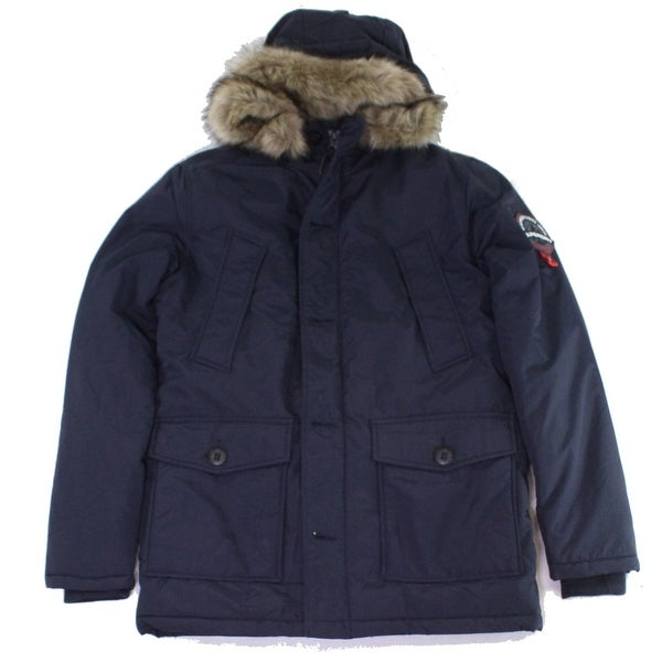 Superdry Mens Jackets Navy Blue Size XL Parka Faux Fur Lined Hooded. Opens flyout.