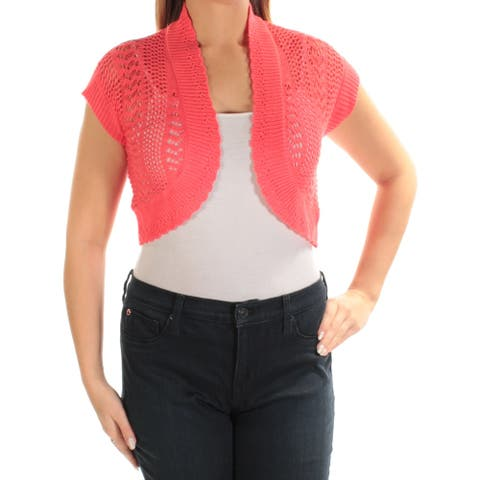 SIGNATURE Womens Coral Short Sleeve Open Cardigan Top Petites Size: 6