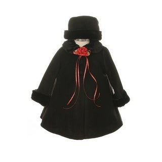 Kids Dream Black Fleece Faux Fur Collar Stylish Coat Baby Girl 6-24M