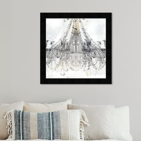 Oliver Gal 'White Gold Diamonds Square' Fashion and Glam Wall Art Framed Print Chandeliers - Gray, White