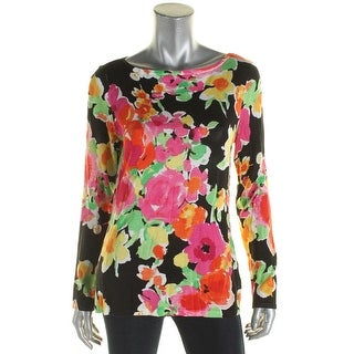 Lauren Ralph Lauren Womens Pullover Sweater Floral Print Boat Neck - l