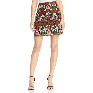 Lucy Paris Womens Mini Skirt Embroidered Partially Lined