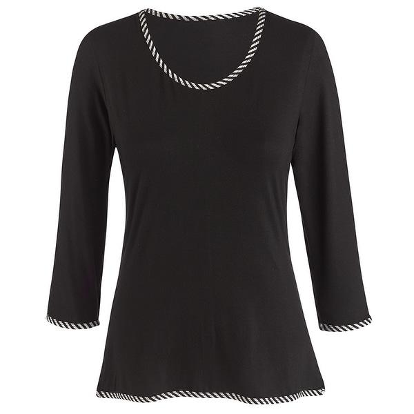 Women's Tunic Shirt - Positive Negative Black White Stripe Top