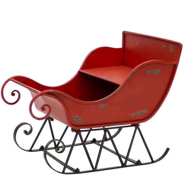 Outdoor Christmas Sleigh.Pack Of 2 Metal Red And Black Decorative Christmas Sleigh