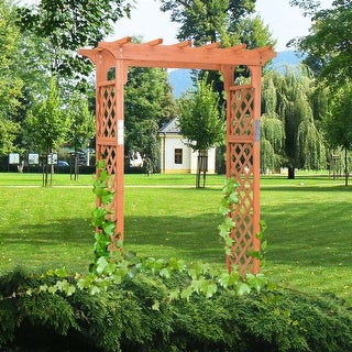 Costway Arbor Over 7FT High Wooden Garden Arch Trellis Pergola Outdoor Patio Plant - Yellow