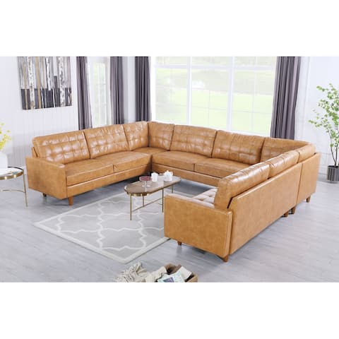 Corvus Oreanne Modern 5-piece Tufted Faux Leather Sectional Sofas