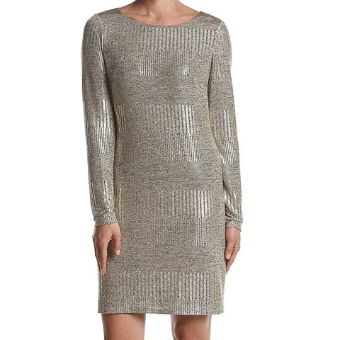 Jessica Howard Womens Metallic Long Sleeve Sheath Dress
