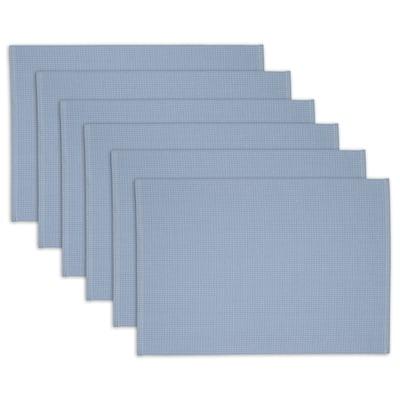 "DII Blue Dobby Dots Placemat Set, 13x19"", 6 Piece"