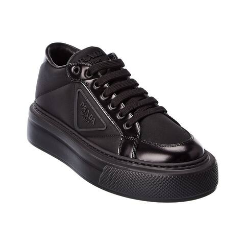 Prada Macro Nylon & Leather Platform Sneaker