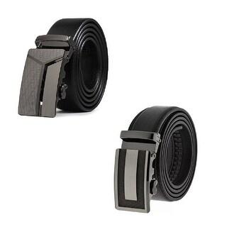 Set of 2 Men Black Formal Dress Work Leather Ratchet Automatic Sliding Belt - Fits S to XL (Y & I Design)
