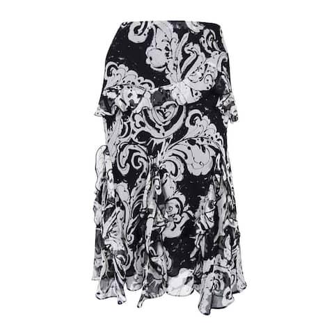 Lauren Ralph Lauren Women's Floral-Print A-Line Ruffled Skirt (S, Black/Pearl) - Black/Pearl - S