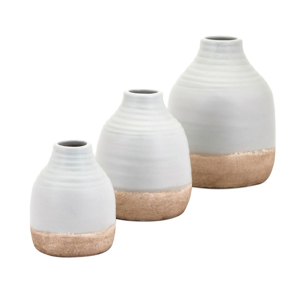 "Set of 3 White and Copper Finished Decorative Chloe Vases Table Top Decor 7.25"" - N/A"
