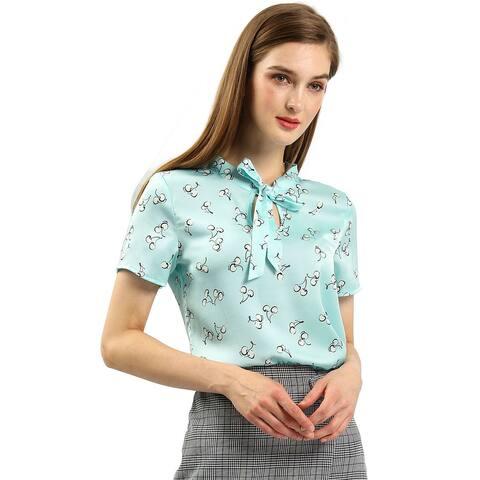 Ladies Tie Bow Neck Cherry Printed Blouse