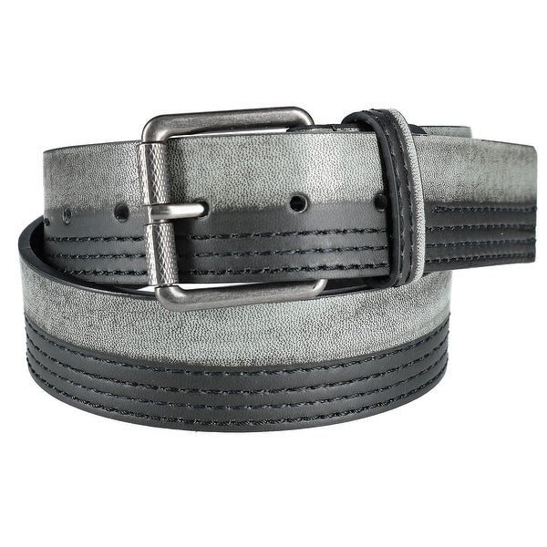 CTM® Men's Distressed Grey and Black Jean Belt