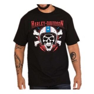 Harley-Davidson Men's RWB Helmet Skull Short Sleeve Crew Neck T-Shirt, Black