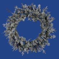 "36"" Frosted Wistler Fir Artificial Christmas Wreath - Unlit - green"
